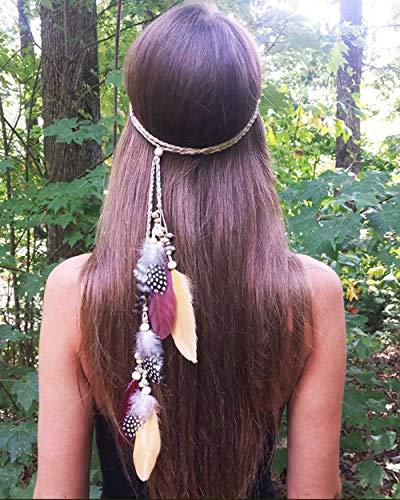 Simsly - Fascia per capelli stile boho, stile hippie, stile indiano, anni '20, con piume, accessorio per capelli, copricapo per donne e ragazze
