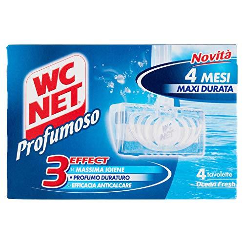 Wc Net - Tavoletta Profumoso 3 Effect, Detergente Igienizzante Solido per WC, Fragranza Ocean Fresh, 4 Pezzi x 1 Confezione