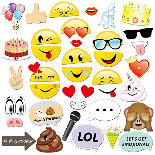 Konsait Emoji Photo Booth Props (38pcs), Divertimento Emoticon Carta Foto Booth Props Accessori Fai da Te per Matrimonio Compleanno Addio al Nubilato Natale Halloween Capodanno Laurea Festa