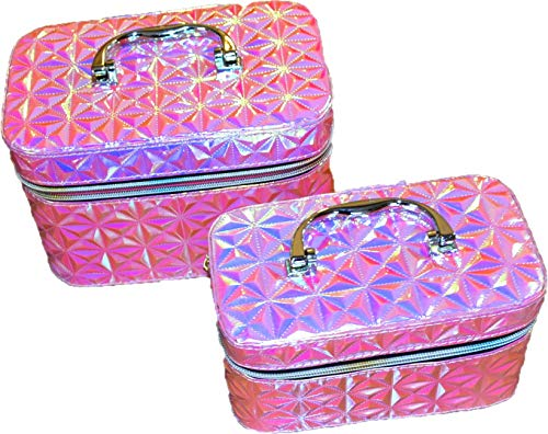 Beauty case per cosmetici, beauty case, beauty case, beauty case per bambini, articoli da toeletta, articoli da toeletta, per donne e ragazze, Motivo X rosa. (Rosa) - KUF-01