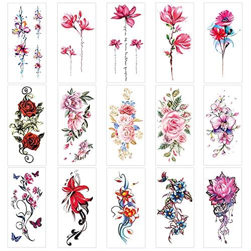 Keleily Tatuaggi Temporanei di Fiori 30 Fogli Tatuaggi Temporanei Adulti adesivi tatuaggio per Donne, Ragazze, Braccia, Gambe, Schiena, Rosa, Rosso
