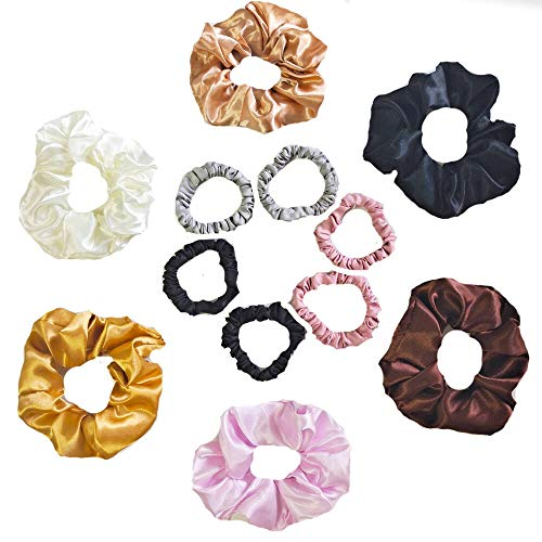 Uni-fine 6 Elastici per Capelli in Raso Big + 6 Small Elastici Capelli Scrunchies, Cravatte Scrunchie Elastic Hair Lies Titolare Coda di Cavallo per Donna