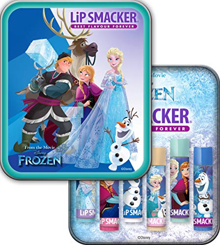 Lip Smacker - Disney's Frozen Collection - Burrocacao per Bambini - Lip Smacker Disney's Frozen Tin Box - Confezione di Latta da 6 Burrocacao