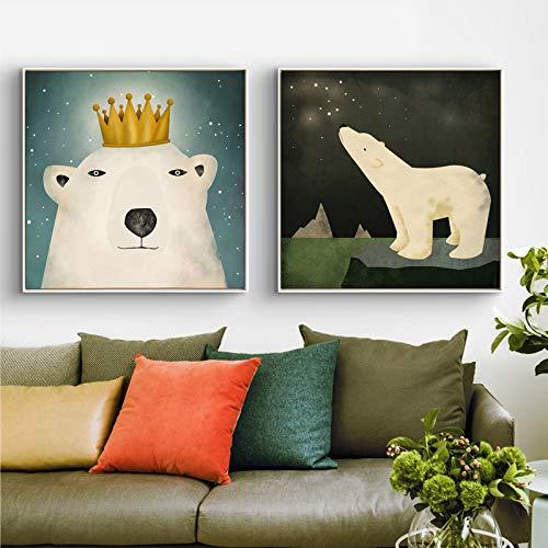 ganlanshu Trittico di Orso Polare Leone Marino Tela Pittura murale Camera dei Bambini Decorazione della casa Poster Nordico,Pittura Senza Cornice,70X70cmx2