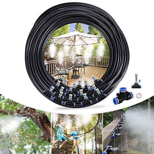Tencoz Nebulizzatore Giardino, 20M Nebulizzatore da Esterno Sistema Irrigazione Giardino, Kit di Nebulizzatore da Giardino Esterno Terrazzo Adatto per Giardini, Serre e Trampolini, Gazebo(24 Ugello)