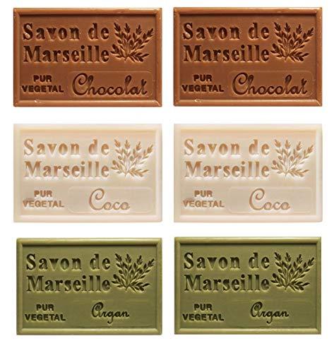 Piccolo Stock 6 (sei) pezzi Saponetta di Marsiglia 125g Profumazioni miste 6 pz x 125g Cioccolata Cocco Argan