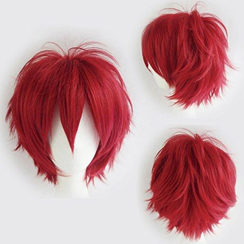 Elailite Parrucca Corta Rosso Parrucche Cosplay Capelli Sintetici Uomo/Donna Vari Colori per Carnevale Party Festa