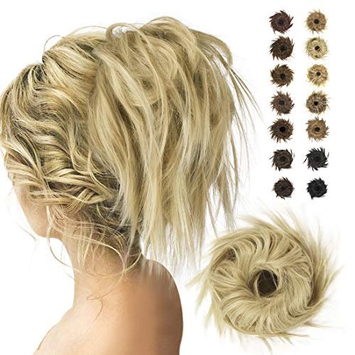 BARSDAR Elastico con Capelli Finti per Coda Hair Bun Posticci Hair Estensione Updo Ponytail Parrucchino Elastici per Capelli Donna Coda Chignon