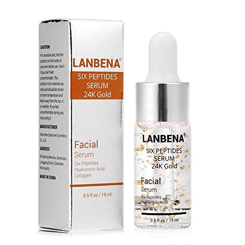 Siero per la cura della pelle del viso, Essenza di sei peptidi di acido ialuronico 24K Gold per Striae Crema anti-rughe Anti-invecchiamento del collagene idratante 15ml