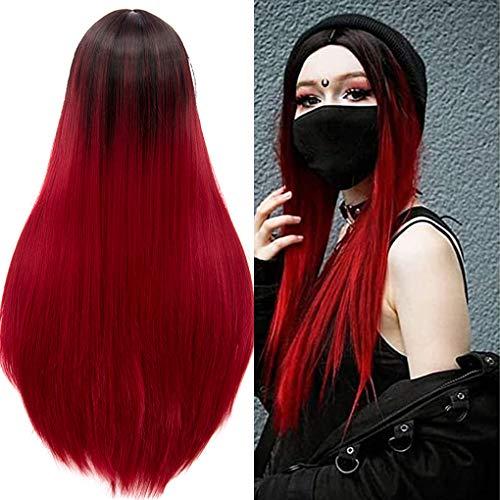 ATAYOU® Parrucca Ombre Parrucca Ombre da Nero a Rosso Parrucche Cosplay per capelli lunghi Parrucche sintetiche naturali per capelli sintetici termoresistenti Profondo rosso Parrucche