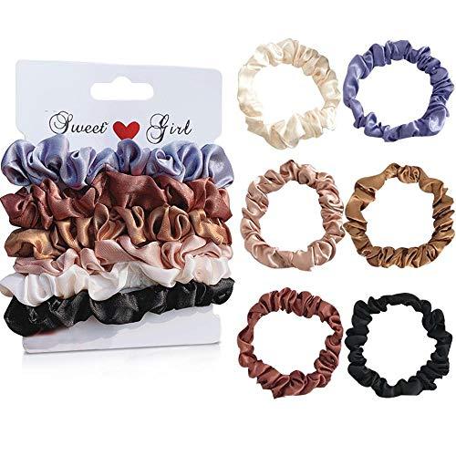 Uni-Fine 6 pezzi scrunchies raso raso / seta elastici capelli raso traceless elastici per capelli antiscivolo scrunchies per capelli per capelli spessi / sottili donne ragazze, 6 colori