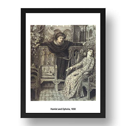 Periodo Prints Hamlet e Ophelia 1858 di Dante Gabriel Rossetti, arte pre-rapaelite, riproduzione A3 in cornice nera 17x13 (A3)