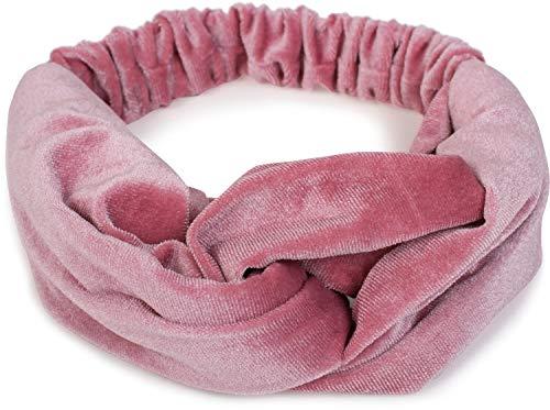 styleBREAKER Fascia per capelli da donna in look di velluto con nodo e fascia elastica, fascia per la fronte, fascia per la testa 04026027, colore:Rosa antico