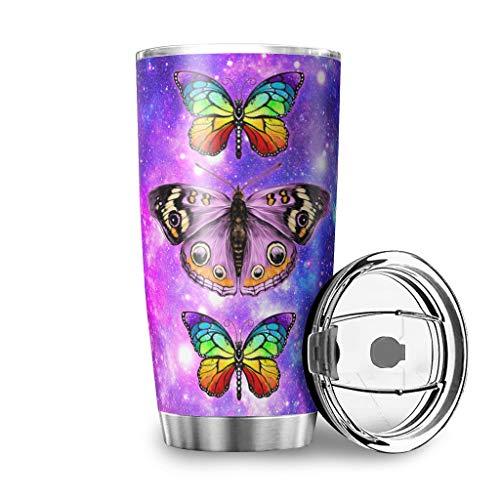 MiKiBi-77 - Bicchiere in acciaio INOX con farfalla e nebulizzatore con coperchio scorrevole a prova di spruzzi, 600 ml, colore: Bianco