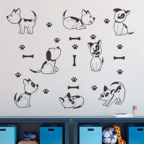 Zampa di cane zampa muro nero modello di tatuaggio adesivo da parete applique fai da te intaglio cucina per bambini decorazione della scuola materna carta da parati in vinile