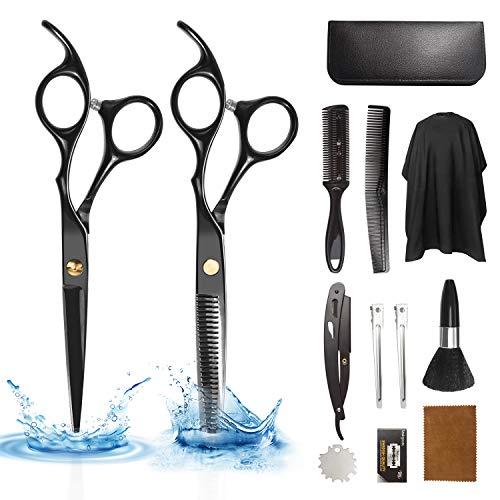 Xnuoyo 17Pcs Forbici da Parrucchiere, Professionali in Acciaio Inossidabile Kit Forbici con Mantello da Barbiere e Pettine da Rasoio per Forniture da Barbiere e Salone di Casa