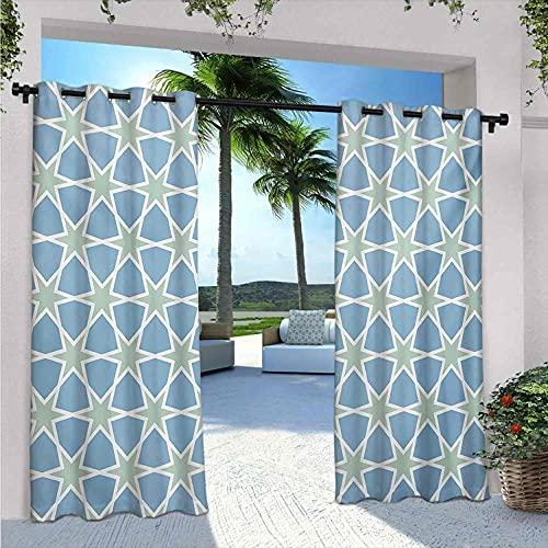 Marocchino Outdoor Patio Tende, motivo mosaico ripetuto smaltato Zellige Art Figure Stelle Ispirazioni romane, Isolamento termico, ombreggiatura e impermeabile, W220 x L72 pollici verde blu bianco