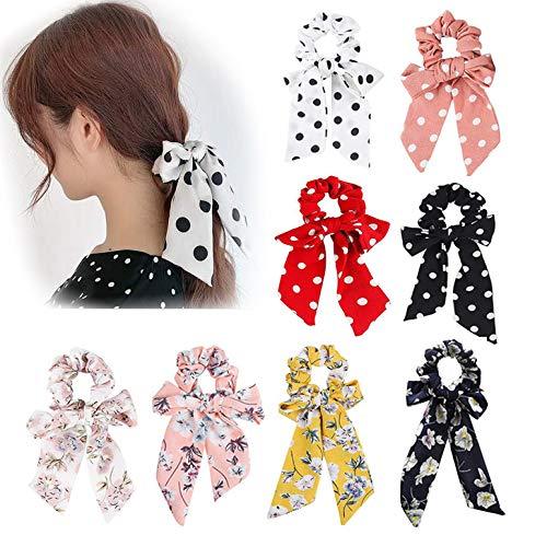 8 foulard Scrunchies in chiffon con fiocco per capelli, elastici in seta, fiocchi con motivo stampato e a pois, accessori per capelli