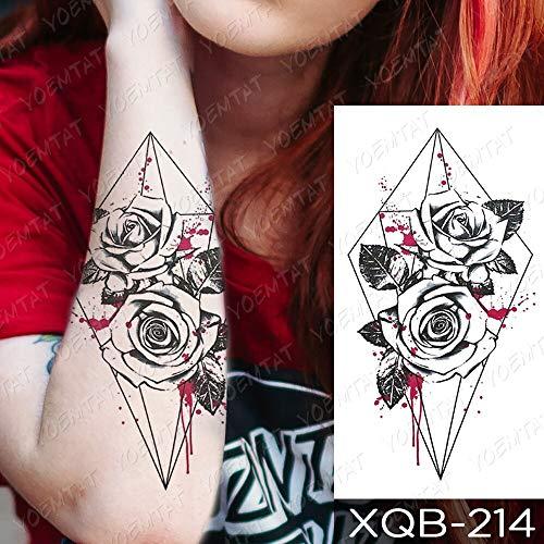 BLOUR Impermeabile Autoadesivo del Tatuaggio temporaneo Rosa Blu Peonia Fiori Flash Tatuaggi Croce Rosario Body Art Braccio Manica Finta Tatoo Donna Uomo
