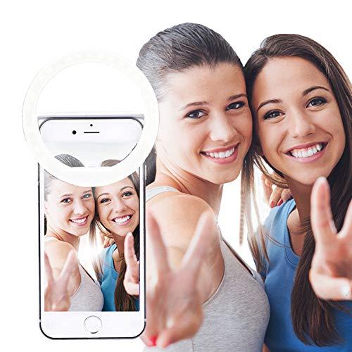 AUTOPkio Selfie Ring Light, 36 Anello luminoso a LED Supplemento Selfie Illuminazione Notte Oscurità Selfie Migliorato per la fotografia per iPhone/Samsung Smartphone - Bianco