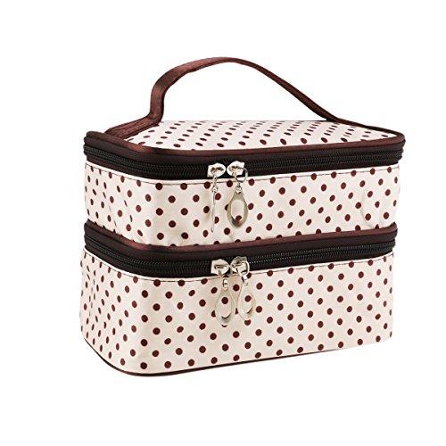 WINOMO Pochette per Trucchi Donna Trousse Organizer Borsa Beauty Case da Viaggio (Bianco Crema)