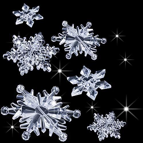 35 Pezzi Fiocchi di Neve in Cristallo Acrilico Trasparente Ornamenti Ciondolo Albero di Natale Decorazioni Natalizie Fai Da Te (Chiara)