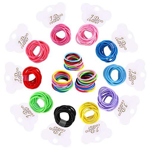 Fascette elastiche per capelli sottili, 100 mini mini mini mini elastici per coda di cavallo, senza accessori per capelli in metallo, per bambine e bambini
