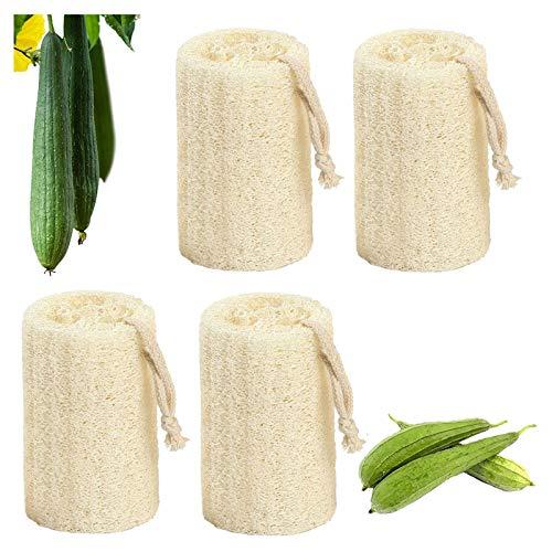 Gqavril12 Spugne Vegetali da Bagno Luffa Spugna Cucina Loofah Naturale Spugna di Luffa Naturale Luffa Naturale con Cordino per Fare Il Bagno e Pulire Gli Utensili da Cucina(4 Pezzi)