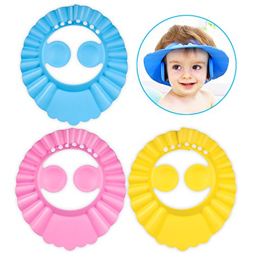 3pcs Doccia Cap per Bambino, PAMIYO Sicurezza Cappello da Bathing per Bambini Protettivo da Bagnetto Prevenire l'Acqua Flusso Verso Occhi e Viso