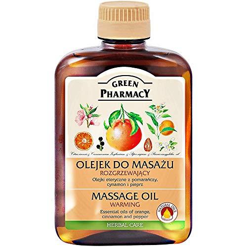 Olio da massaggio caldo (cannella, pepe nero e arancione) con base di olio di mandorle 200 ml. Senza parabeni o coloranti