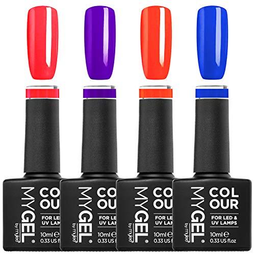 Mylee Jelly Collection Set - 4 smalti gel semipermanenti a lunga durata per UV/LED, 4 colori al neon lucidi e luminosi, Perfetta idea regalo con custodia per cosmetici, Risultati professionali