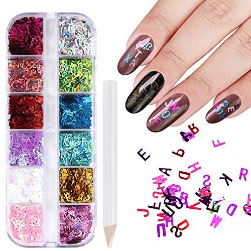 12 Colori Glitter Unghie, 3D Paillettes per Unghie Olografiche Glitter Sequins Del Chiodo Nail Art Punte Del Manicure Delle Decorazioni DIY Decalcomanie Decorazione Viso Corpo Occhi