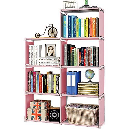 Scaffale Portaoggetti a 6 Cubi, Libreria, Scarpiera, Scaffale per organizer in Soggiorno, Camera per Bambini, per Giocattoli e Necessità Quotidiane, Rosa
