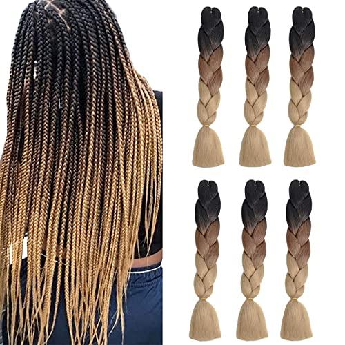 6 confezioni di trecce Jumbo Ombrè Extension per capelli a tre tonalità per capelli intrecciati con ciocche sintetiche (24 pollici, Nero/Marrone/Marrone chiaro)