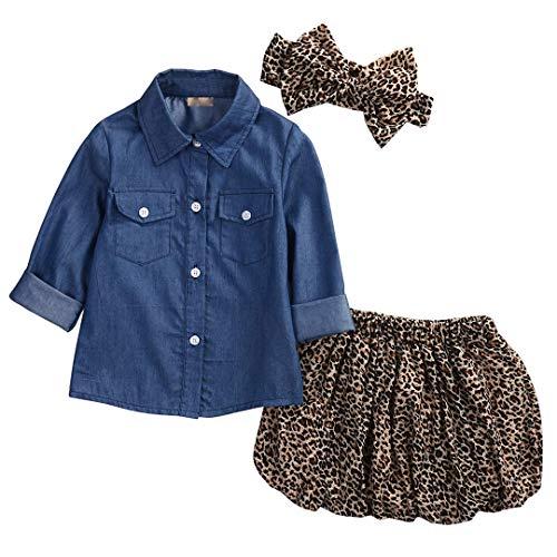 Loalirando Completi Bambina 3 Pezzi Camicia Jeans Bimba + Gonna Leopardata Bmbina + Fascia Capelli Bambina Bowknot, 110(3-4Anni), Multicolore