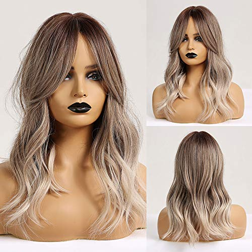 HAIRCUBE - Parrucche lunghe ricce per donne con frangia Ombre colore cenere marrone a grigio