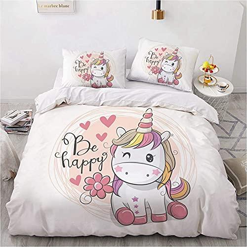 CXYXHW - Set copripiumino con motivo 3D unicorno, copripiumino per camera da letto, quattro stagioni, set di biancheria da letto per bambina, con federe (220 x 240 cm)