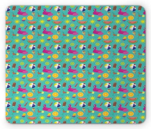 Tappetino per mouse crema fenicottero, necessità per la stagione estiva da spiaggia generata digitalmente, tappetino per mouse rettangolare in gomma antiscivolo, schiuma standard scura multicolore