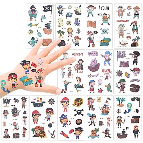 Howaf Pirati Tatuaggi Temporanei per Bambini, Impermeabile Tatuaggi Bambini tatuaggio temporaneo adesivi per Bambini Bambina Ragazzi Regalo Pirati Festa di Compleanno Giocattolo Gadget, 12 fogli