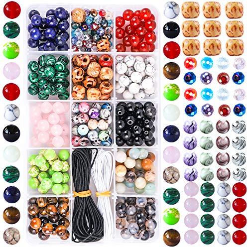 Colle Perline per Braccialetti Collane Bigiotteria Energetico Braccialetto Yoga Braccialetto Fai da Te Perle di Cristallo 290 Pezzi con Perle di Chakra Adatto per Olio Essenziale