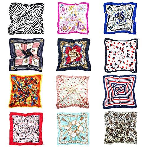 Joeyer 12 Pack Sciarpa in Raso Donna Foulard Quadrato Sciarpa di Seta Piccolo Sciarpa Quadrato Raso Fazzoletto (50 x 50cm)