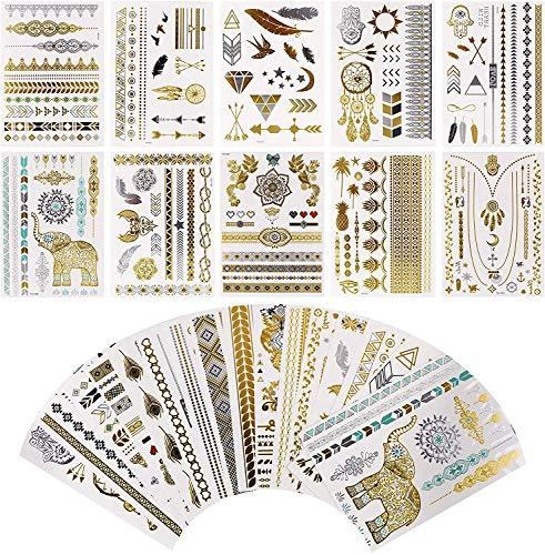 Tatuaggio tatuaggio temporaneo metallico impermeabile 16 fogli in oro argento adesivo corpo gioielli finti tatuaggi oltre 200 disegni per donne adolescenti (Classico)