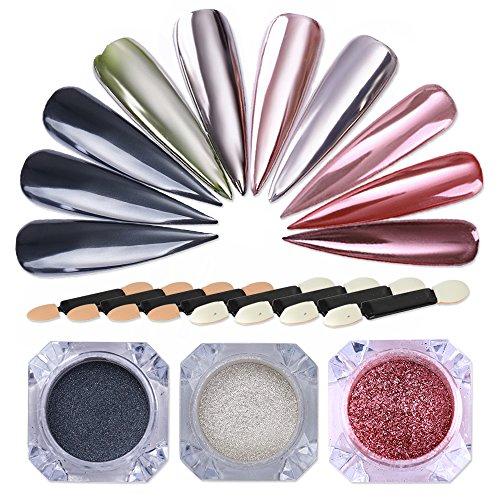 NICOLE DIARY Set per nail art con polvere di cromo Set di power art per manicure con polvere di pigmenti cromati Polvere di nail art metallizzata con 8 pezzi di ombretti