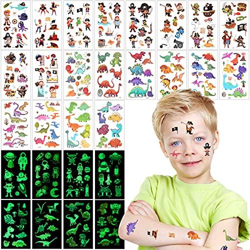 VinDox Tatuaggi Bambini,Tattoo Luminoso Bagliore nel Buio bambina, Tatuaggi Temporanei,Tatuaggi impermeabili per Ragazze Maschi,Compleanno Decorazione Regalini(30pezzi)(Pirati+Dinosauro)