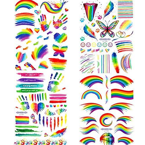 4 Fogli Gay Pride LGBT Arcobaleno Tatuaggi Temporanei, Adesivi Arcobaleno Tatuaggio Temporaneo Set di Pittura del Corpo, Adesivi Bandiera Arcobaleno per Celebrazioni di Gay Pride Parade