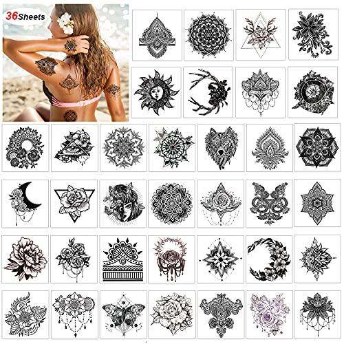 Konsait 36 fogli tatuaggio temporaneo nero per adulti uomo donna impermeabile Tatuaggio Temporanei Rimovibili Tatuaggi lupo mandala fiore tatuaggi