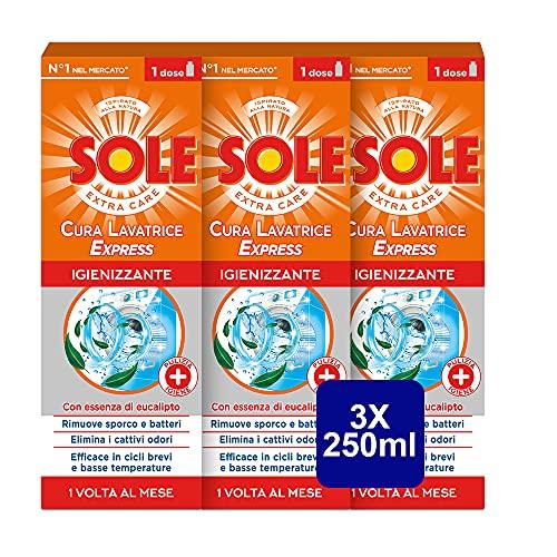Sole Lavatrice Cura Express, Formula Potenziata di 8 Azioni, Confezione da 3 Bottiglie da 250 ml