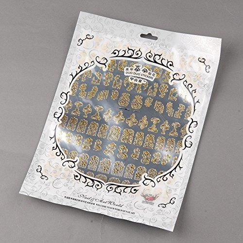 Oro Timbratura decalcomanie del chiodo manicure arte decorazione in metallo