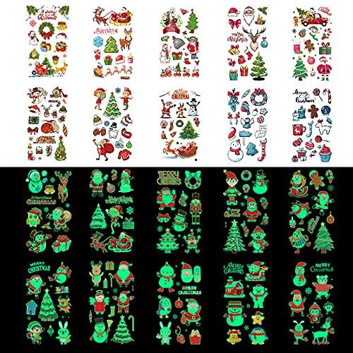 PhoenixDN 40 Fogli Tatuaggi Temporanei di Natale, Natale Tatuaggi Temporanei per Bambini, Tatuaggio Di Natale, per Forniture per Feste di Natale per Ragazze da Ragazzi
