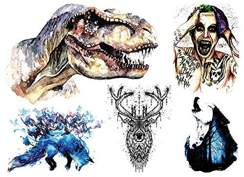 TATTOO COLORATO Joker dinosauri volpe lupo cervo adesivo per corpo p07